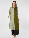 Green Half & Half Textured Solid Kurta