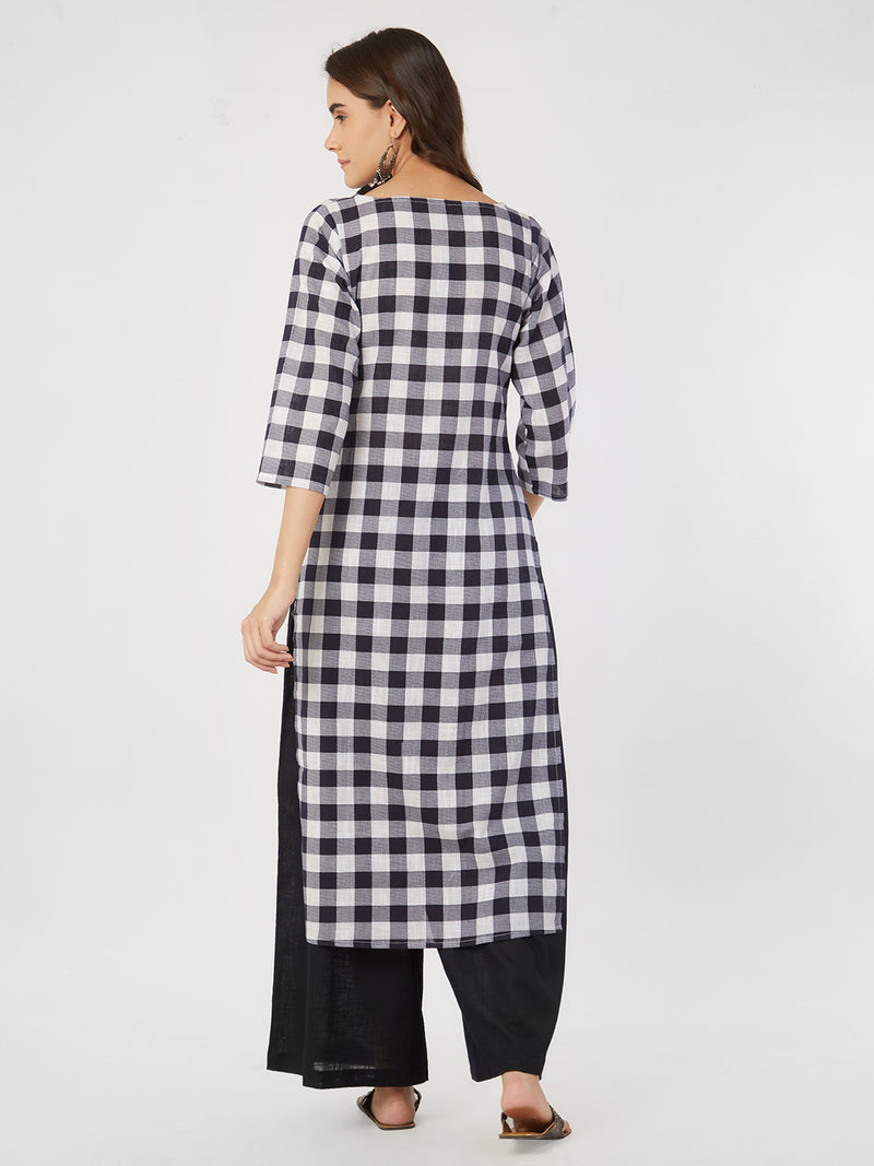 Navy Blue Checks Kurta