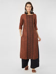 Embroidered Straight Rust Boat Neck Kurta