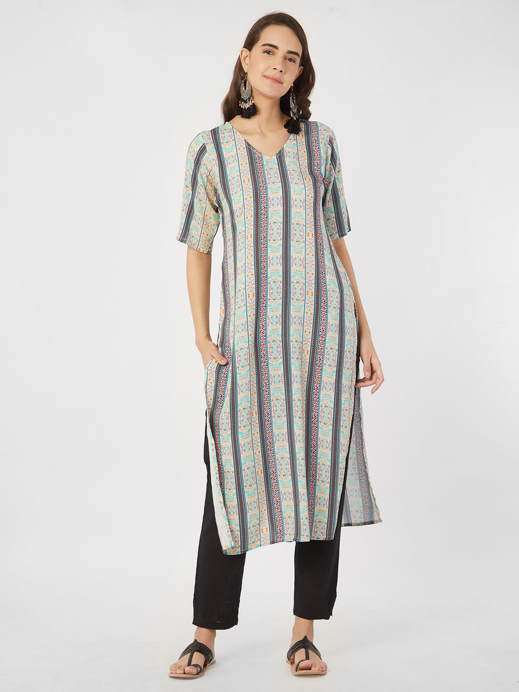 Multicoloured Straight Kurta
