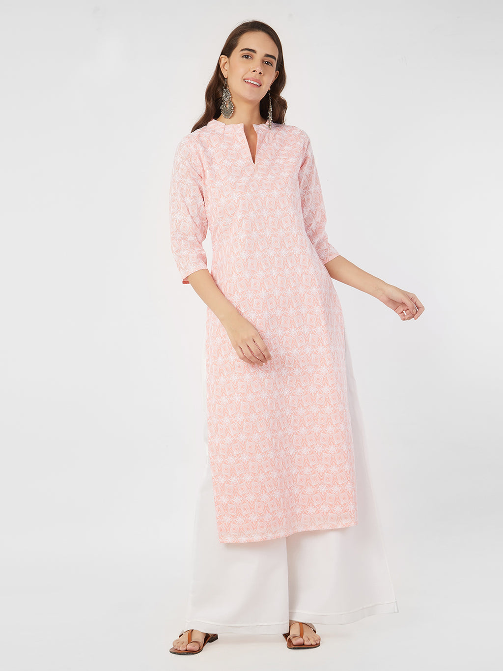 Embroidered Pastel Peach Straight Kurta