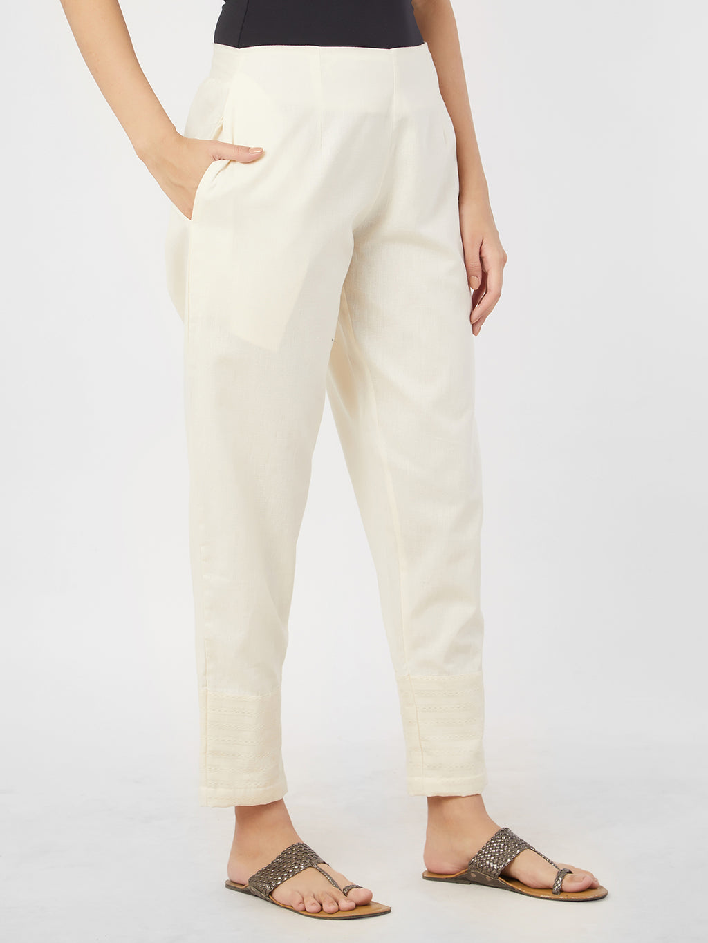Narrow Cream Pants With Statement Hem