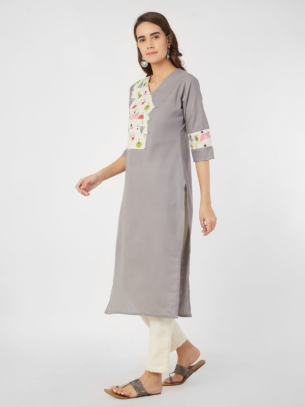 Kurta with Printed Yoke