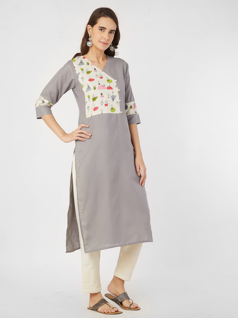 Grey Kurta with Printed Yoke