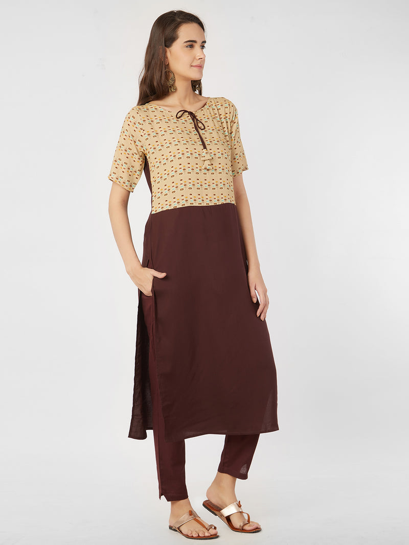 Beige & Brown Kurta
