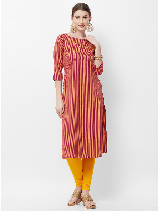 Magenta Stripes Embroidered Kurta