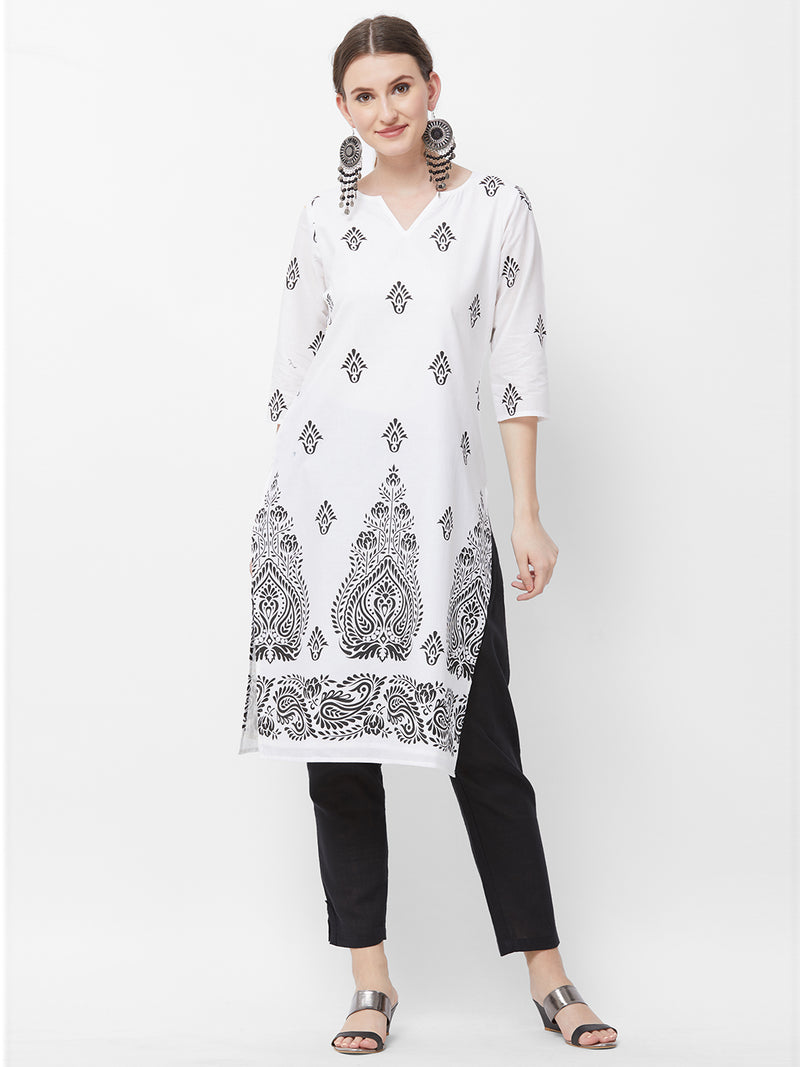 Printed White Kurta