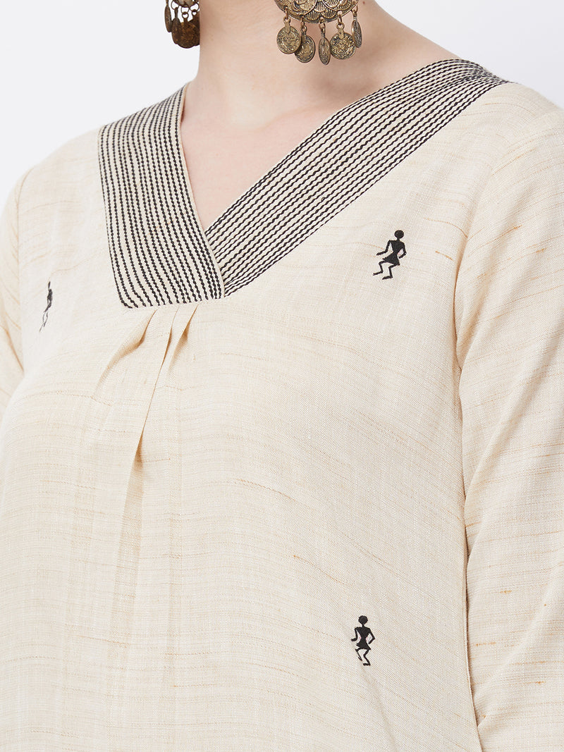 Cream Embroidered Kurta
