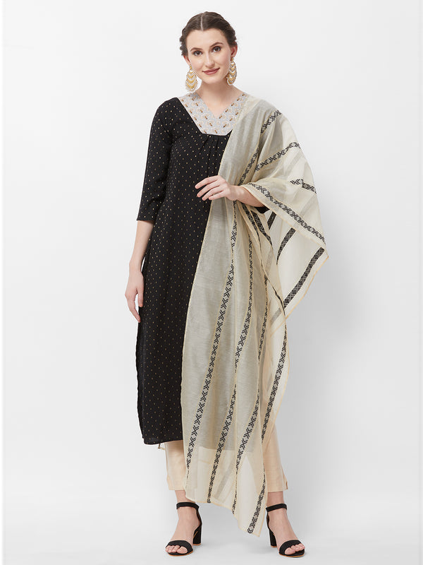 Beige Black Bordered Dupatta