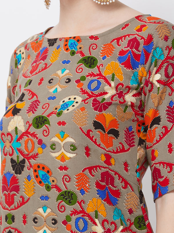 Foil Printed Multicolour Straight Kurta