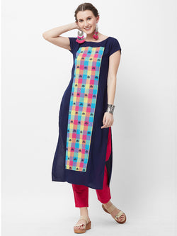 Navy Blue Panelled Kurta