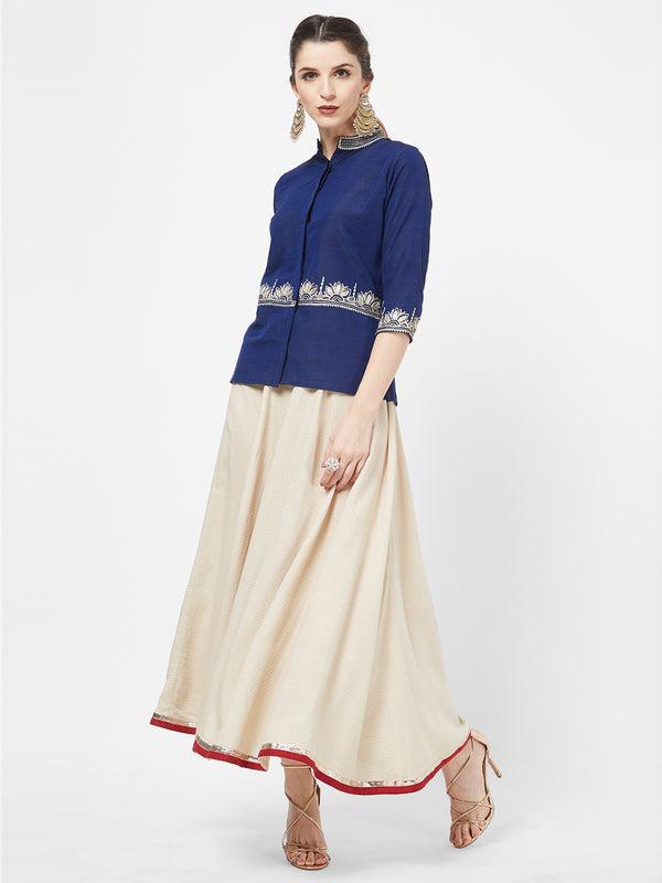 Blue Gota Embroidered Top