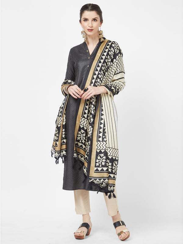 Beige Traditional Black Printed Dupatta
