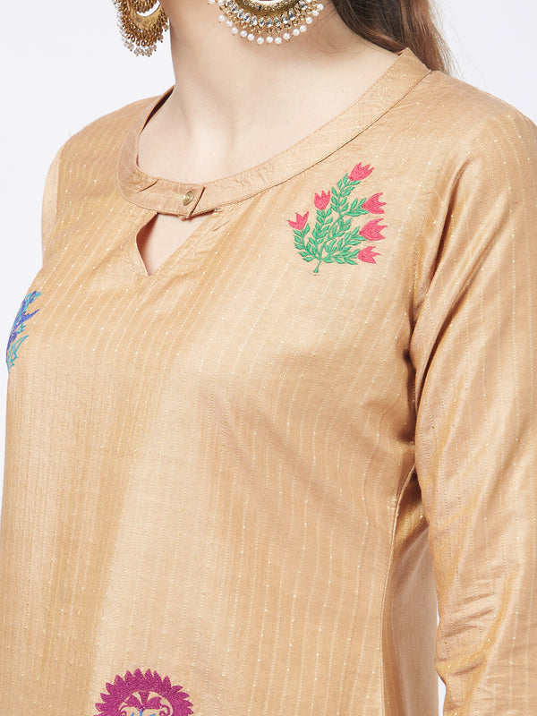 Floral Embroidered Beige Kurta