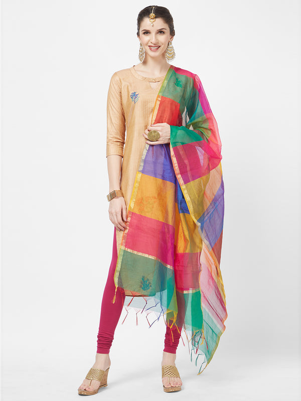 Multi Colour Handloom Checkard Dupatta