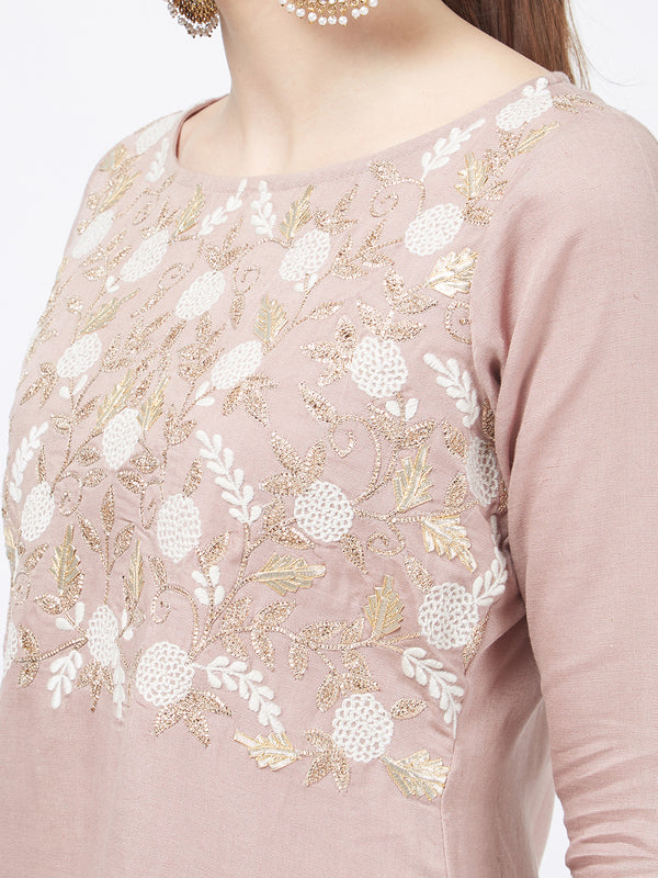Pastel Pink Gota Embroidered Straight Kurta