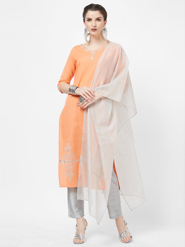Grey Chanderi Foil Dupatta