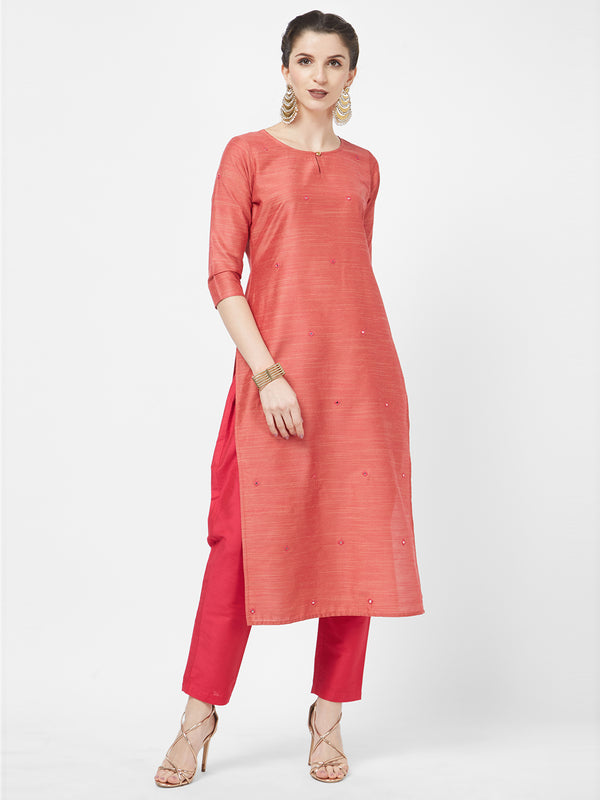 Mirror Embroidered Magenta Kurta