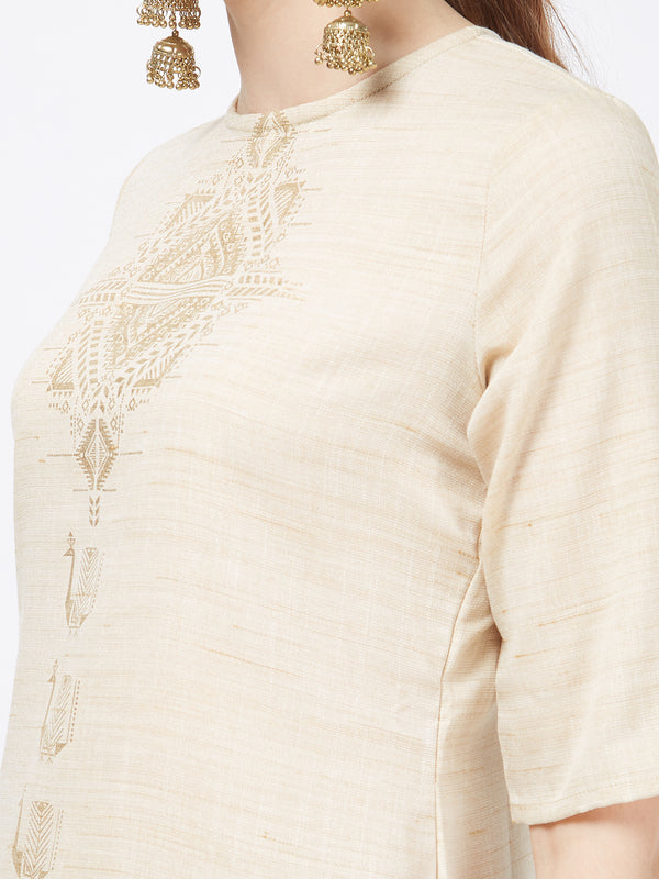 Foil Printed Cream Kurta