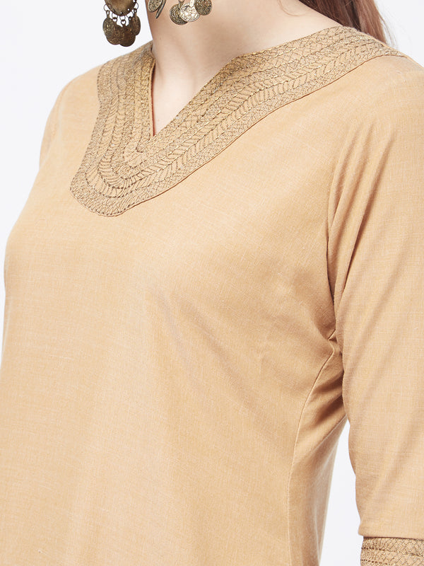 Zari Embroidered Beige Kurta