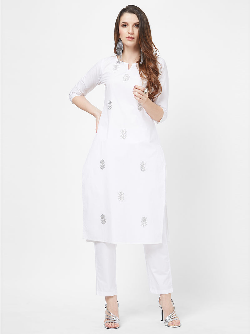 Gota Embroidered White Kurta