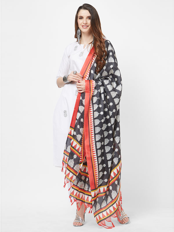 Black Traditional Multi Printed Dupatta