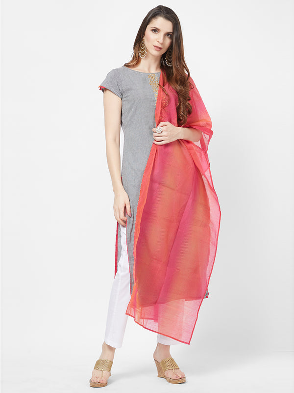 Pink Orange Jackard Dupatta