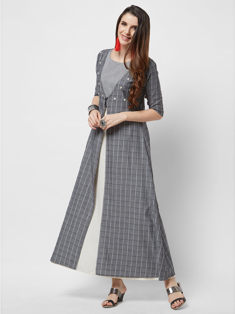 Grey Maxi Gown Set