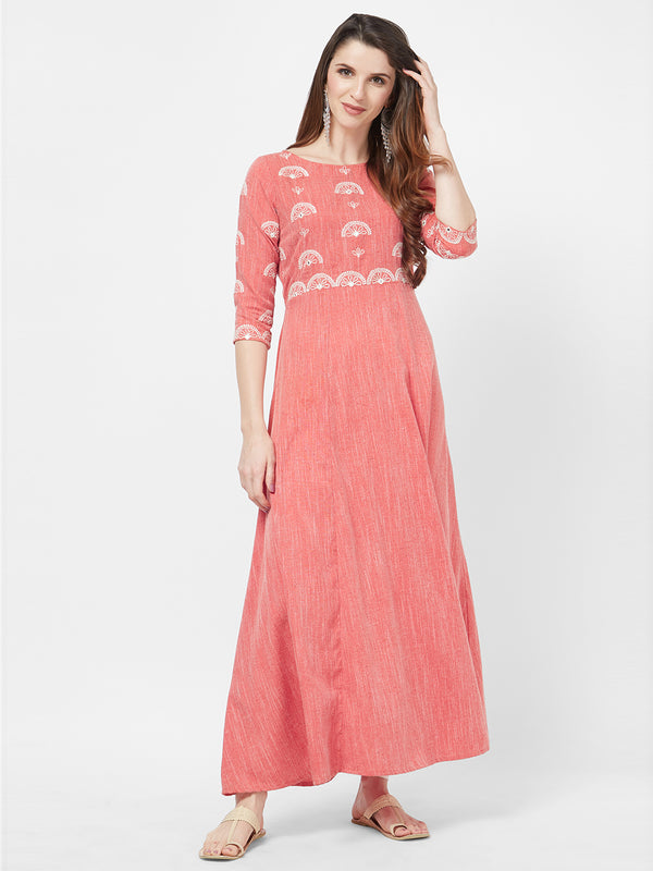 Red Embroidered Maxi Gown