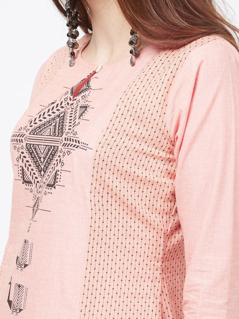 Peach Printed Kurta