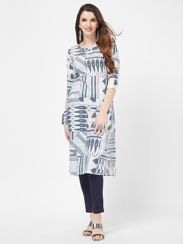 White Printed Kurta