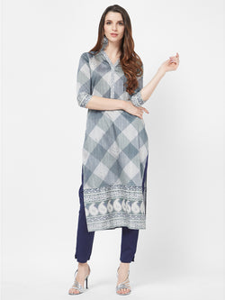 Grey Printed Kurta