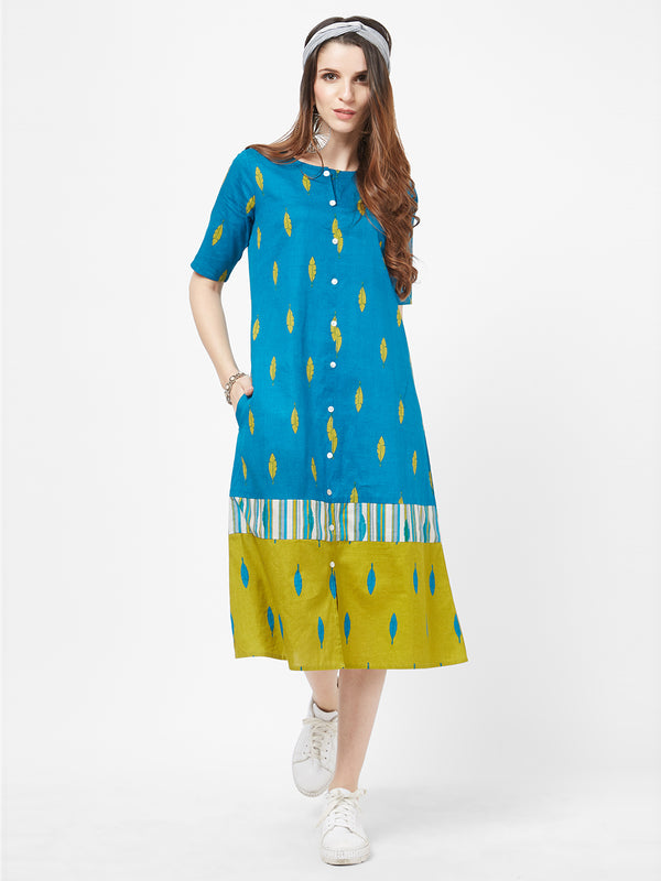 Firozi Printed Dress