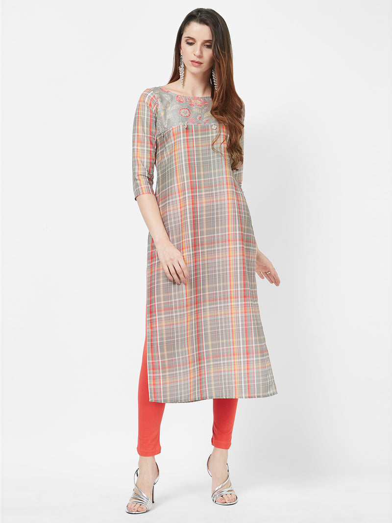 Grey Multicolour Striped Kurta