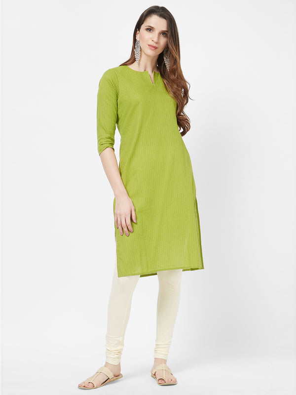 Kantha Embroidered Green Kurta