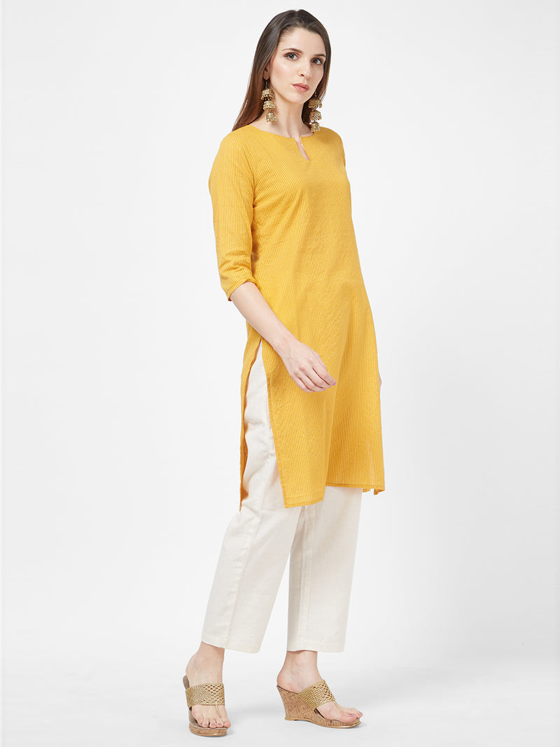 Kantha Embroidered Mustard Kurta