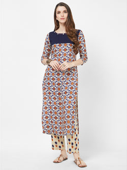 Off Printed Straight Kurta