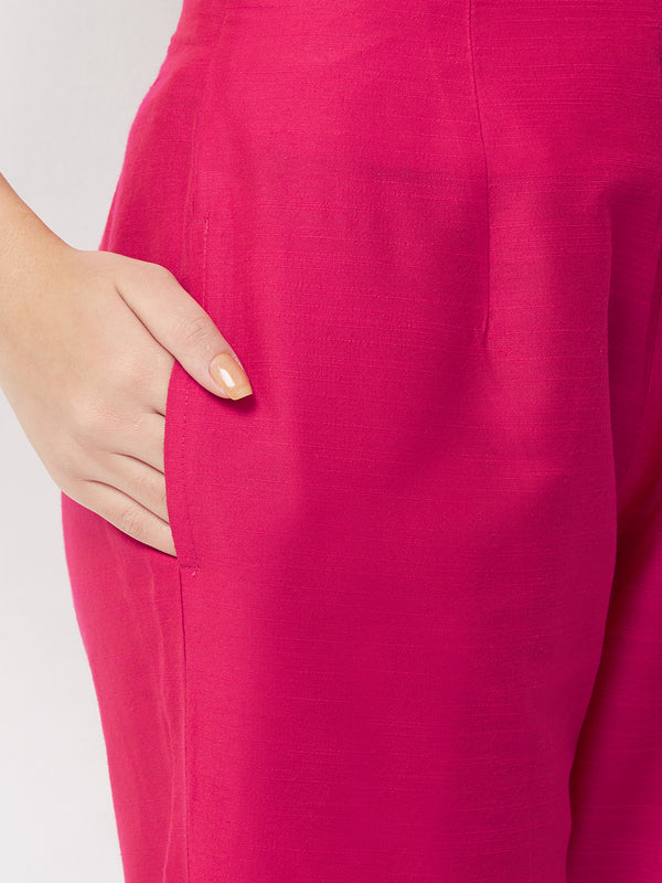 Pink Narrow Silk Pants
