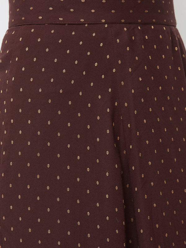 Brown Jari Buti Skirt