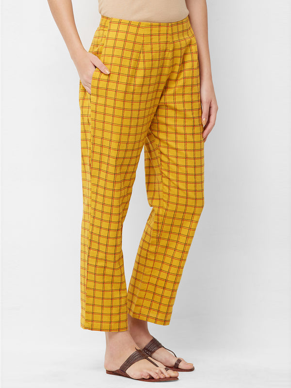 Mustard Checks Printed Parallel Pant