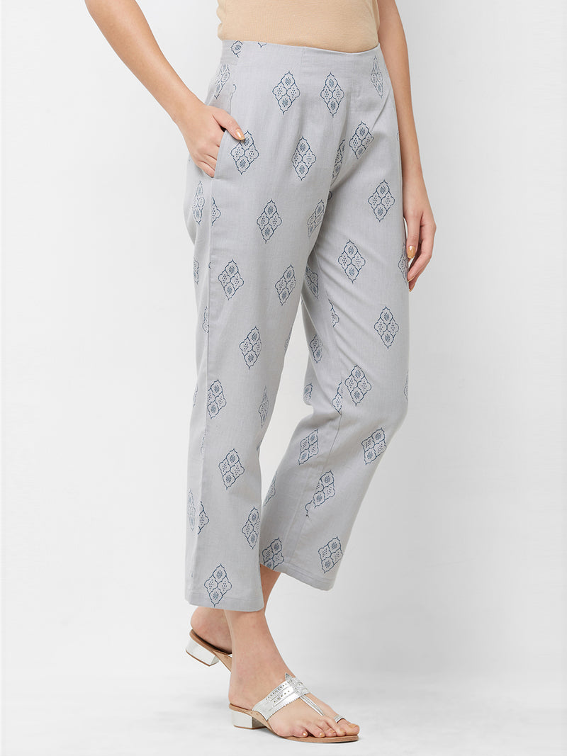 Grey Printed Parallel Pants
