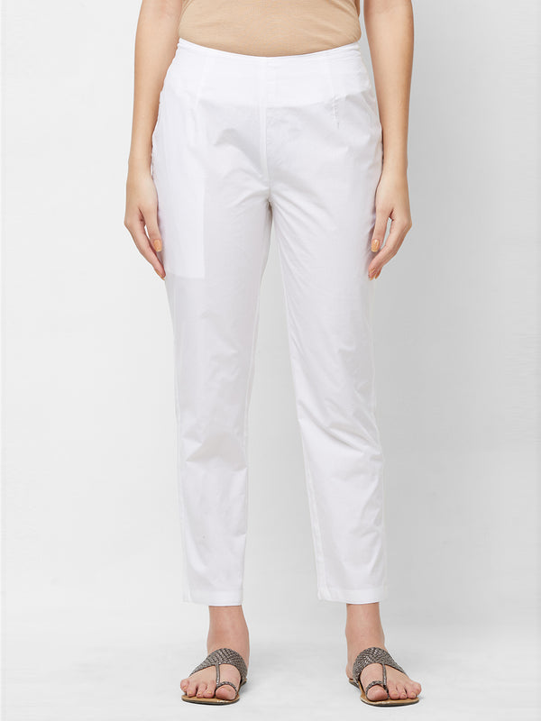 White Narrow Pants
