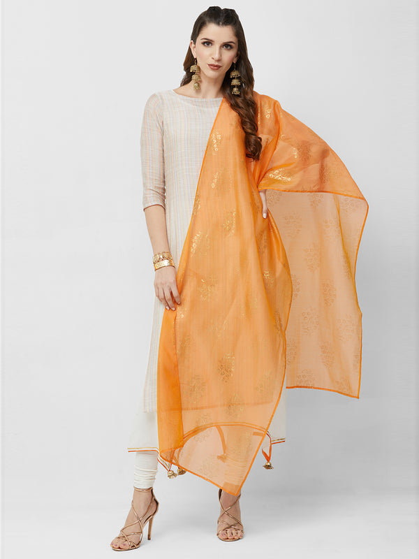 Orange Chanderi Foil Dupatta
