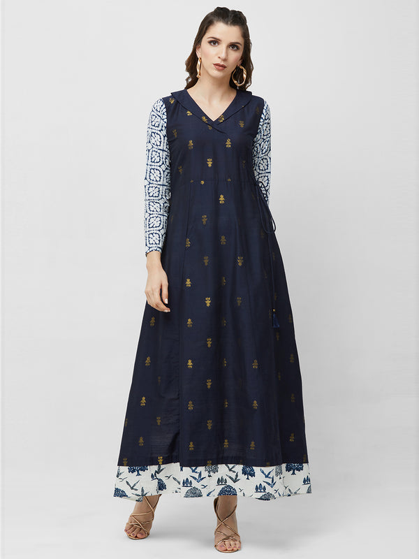 Navy Blue Brocade Maxi Gown