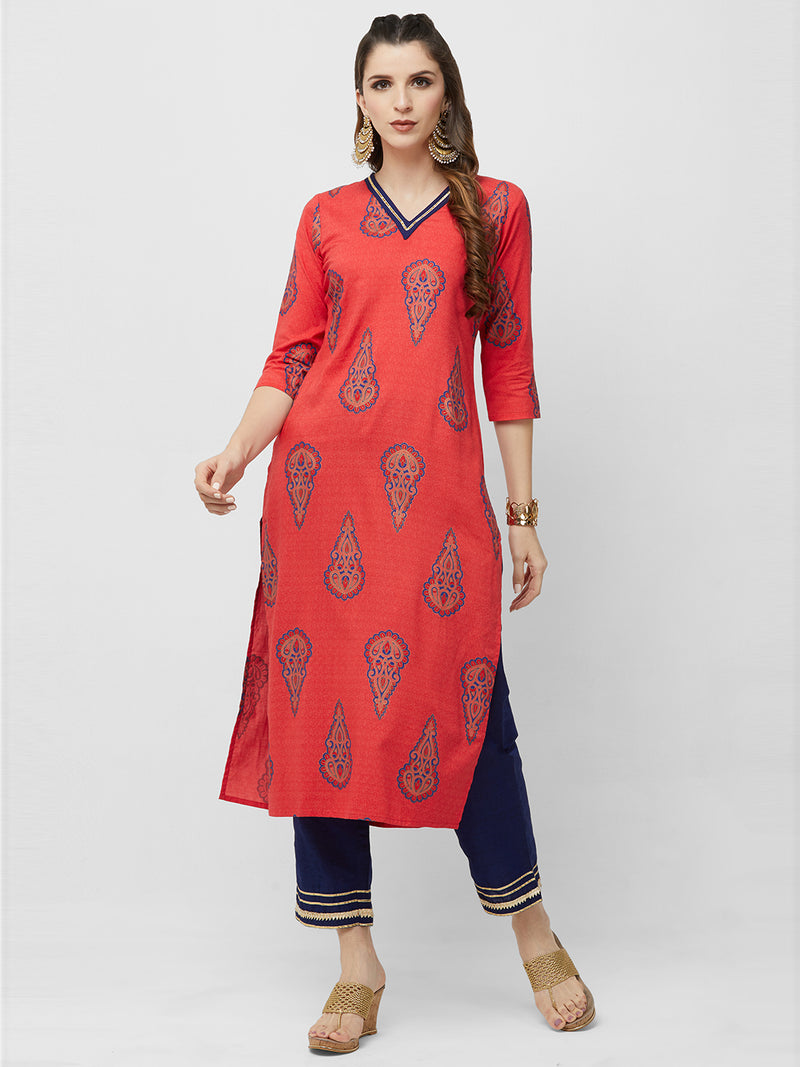 Red Foil Printed Kurta