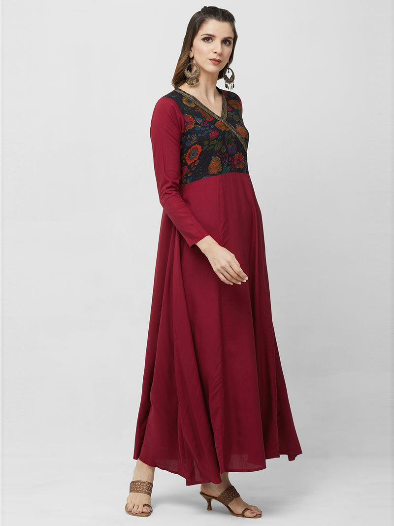 Maroon Printed A-Line Maxi Gown