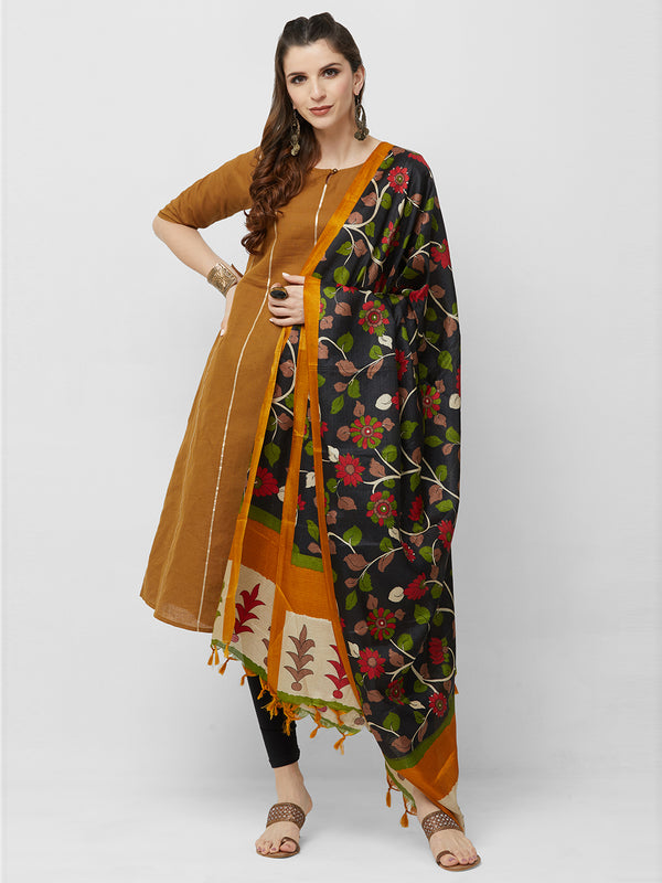 Black Floral Multi Printed Silk Dupatta