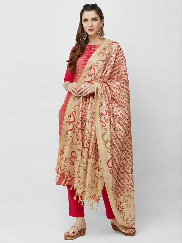 Pink Traditional Printed Dupatta