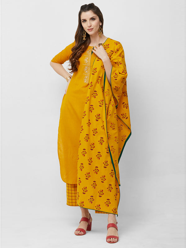 Yellow Floral Printed Dupatta