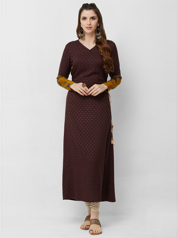 Brown Brocade Maxi Gown